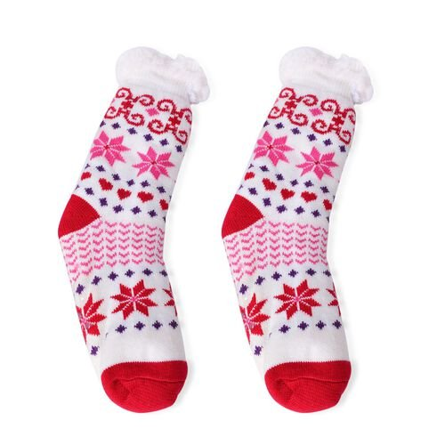 Set of 2- Red, White and Multi Colour Floral and Reindeer Pattern Faux Fur Socks (Size 22X22 Cm)