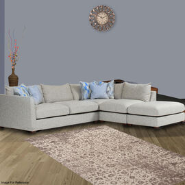 Premium Jacquard Woven Cotton Chenille Area Rug in Beige Colour (Size 140x200 cm)