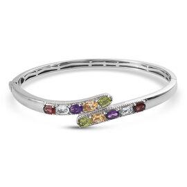 Designer Inspired - Red Garnet, Skyblue Topaz and Multi Gemstone Bypass Bangle (Size 7.5) 4.86 Ct