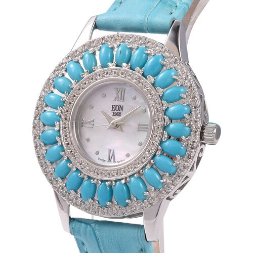 EON 1962 Swiss Movement Arizona Sleeping Beauty Turquoise (6.0 Ct) and Natural Cambodian Zircon (1.8 Ct) Sterling Silver (15.0 Gm) Watch with Genuine Leather Strap