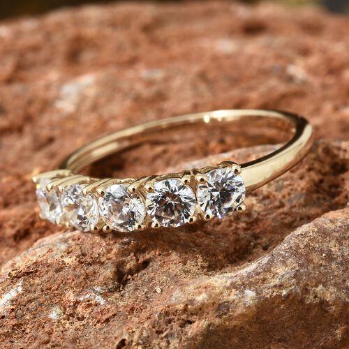 J Francis - Made with SWAROVSKI ZIRCONIA 5 Stone Ring in 9K Yellow Gold
