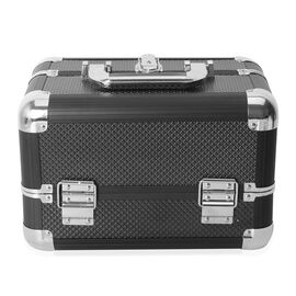 Cosmetic Train Case with 4 Extendable Trays and Top 3 Trays are Removable (Size 29x19x19 Cm) - Black