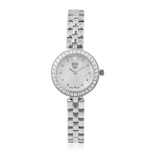 EON 1962 Swiss Movement Simulated Diamond Studded  3ATM Water Resistant Watch with Sapphire Glass in Rhodium Plated Sterling Silver and Stainless Steel, Silver wt 19.00 Gms
