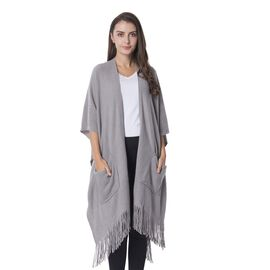 Grey Colour Wrap with 2 Pockets and Tassels (Free Size)