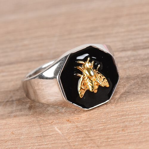 Platinum Overlay Sterling Silver Enamelled Bee Ring, Silver wt 5.40 Gms