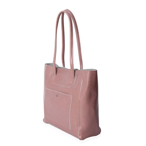 100% Genuine Leather Pink Colour Tote Bag with External Zipper Pocket (Size 39x30x29.5x12.5 Cm)