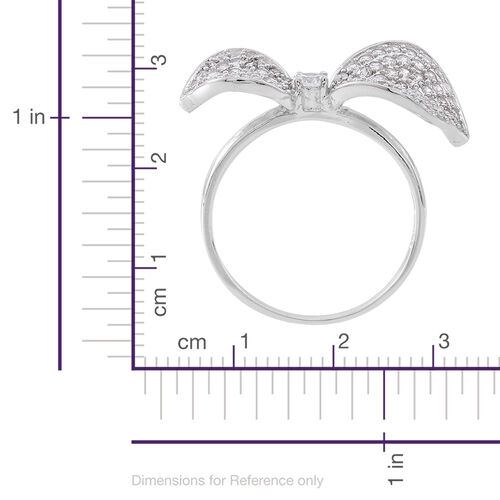 Signature Collection - ELANZA AAA Simulated White Diamond (Rnd) Bow Ring in Rhodium Plated Sterling Silver