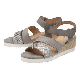 Lotus Ashlyn Open Toe Wedge Sandals - Grey