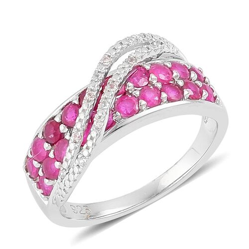 Burmese Ruby (Rnd), Natural Cambodian White Zircon Ring in Platinum Overlay Sterling Silver 1.950 Ct