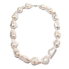 RHAPSODY 5A Fresh Water Baroque Pearl Necklace Size 20 in Platinum