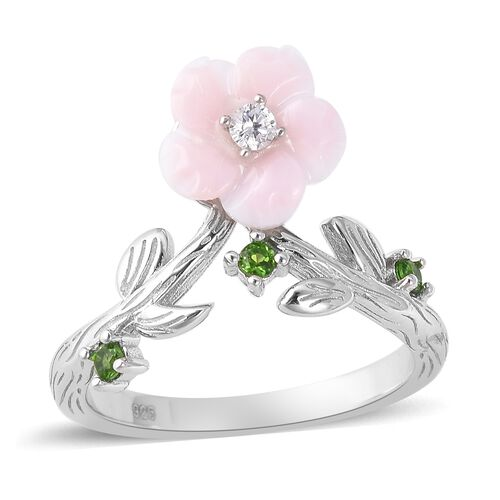 Jardin Collection - Pink Mother of Pearl and Russian Diopside and Natural White Cambodian Zircon Rin