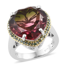 Finch Quartz (Hrt 12.00 Ct) Green Diamonds Ring in Platinum and Gold Overlay Sterling Silver 12.250