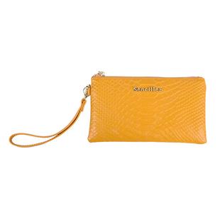 Sencillez 100% Genuine Leather RFID Snake-Skin Embossed Clutch Bag in Mustard
