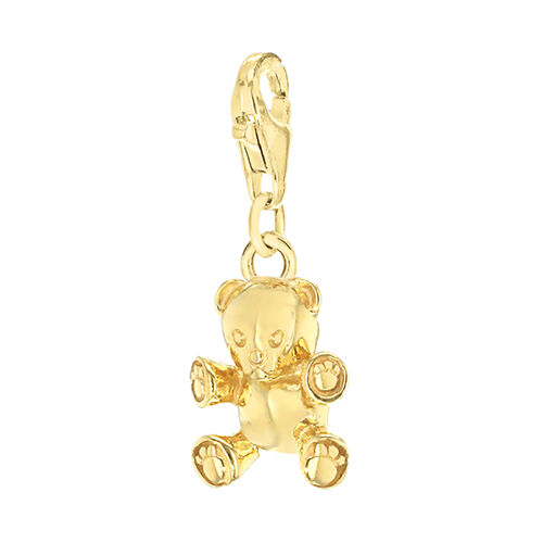 Yellow Gold Overlay Sterling Silver Teddy Bear Charm.