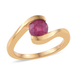 African Ruby (Rnd) Ring in Yellow Gold Vermeil Sterling Silver 1.25 Ct.