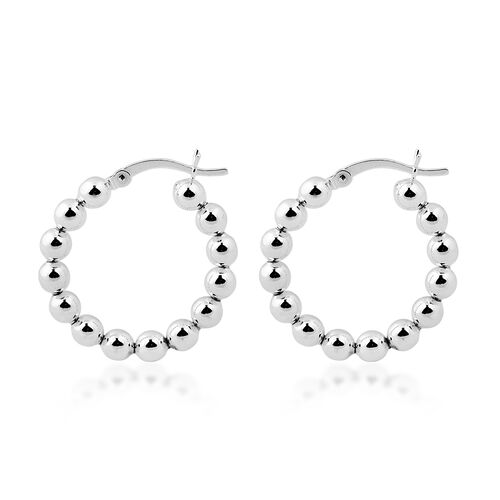 NY Designer Close Out Deal Sterling Silver Ball Hoop Earrings
