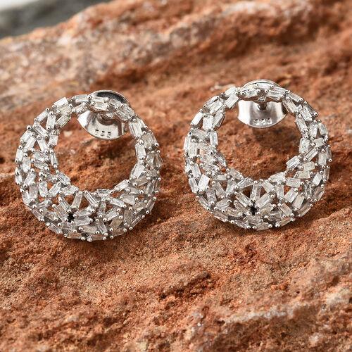 GP Diamond (Bgt), Kanchanaburi Blue Sapphire Earrings (With Push Back) in Platinum Overlay Sterling Silver 0.790 Ct, Number of Diamonds 142