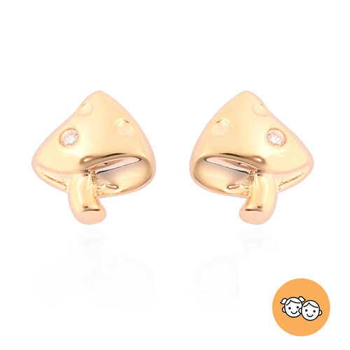 RACHEL GALLEY - Natural Cambodian Zircon Mushroom Earrings (with Push Back) in Yellow Gold Overlay S