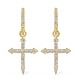 Simulated Diamond Huggie Hoop Cross Earrings with Clasp in Gold Plated