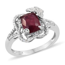 Designer Inspired - African Ruby (Cush 3.50 Ct), Natural Cambodian Zircon Ring in Platinum Overlay S