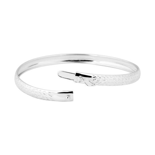 NY Close Out Deal- Diamond Cut Sterling Silver Bangle (Size 8)