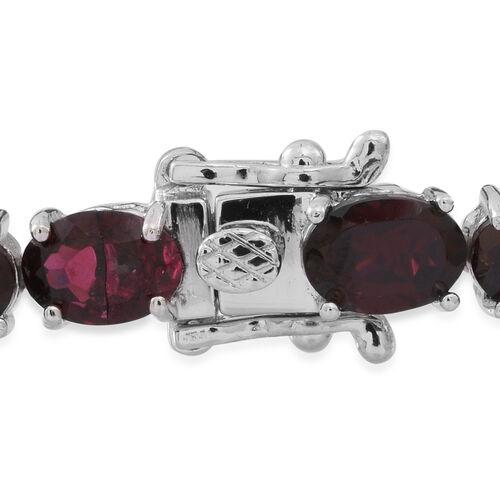 Rhodolite Garnet (Ovl) Bracelet (Size 7.5) in Rhodium Plated Sterling Silver 26.000 Ct.