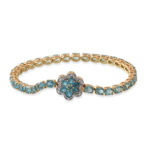 Paraiba Apatite (Ovl), Malgache Neon Apatite and White Topaz Floral Bracelet (Size 7.5) in 14K Gold Overlay Sterling Silver 13.250 Ct.