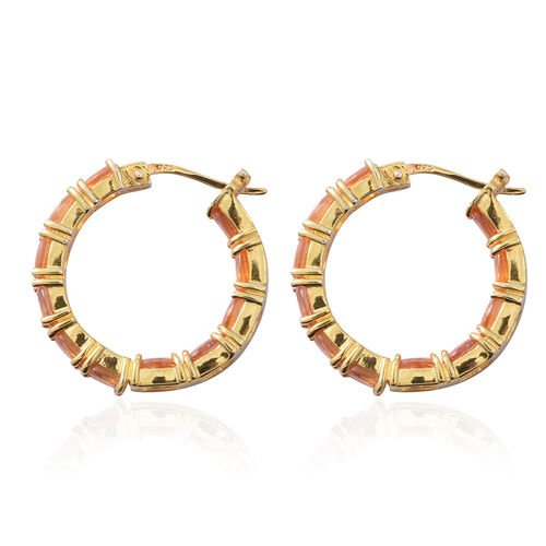 One Time Deal- AA Sunset Sapphire (Ovl) Hoop Earrings (with Clasp Lock) in Yellow Gold Overlay Sterling Silver 6.800 Ct, Silver wt 5.20 Gms.