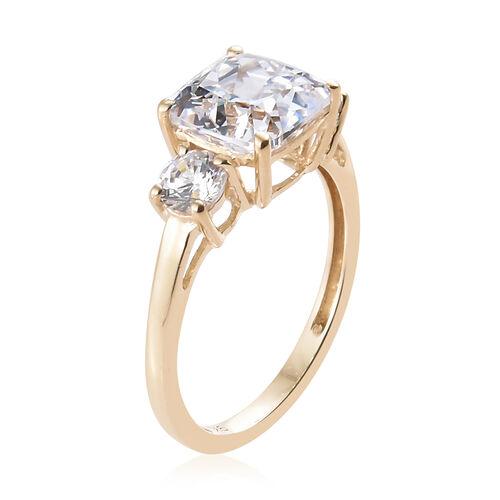 J Francis - 9K Yellow Gold (Cush) Ring Made with SWAROVSKI ZIRCONIA