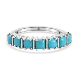 Arizona Sleeping Beauty Turquoise Ring in Platinum Overlay Sterling Silver 1.18 Ct.
