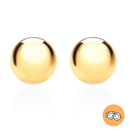 Children Ball Stud Earrings (with Push Back) in 9K Yellow Gold