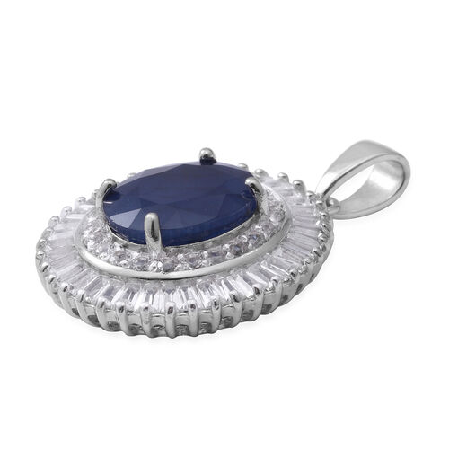 Kanchanaburi Blue Sapphire Extremely Rare Size (Ovl 11x9 mm), White Topaz Pendant in Rhodium Overlay Sterling Silver 8.110 Ct.