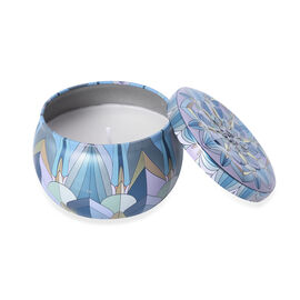 Aromatic Candle in Blue Abstract Pattern Container (Burning Time - 15 Hours) - Vanilla Fragnance