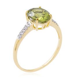 9K Yellow Gold Hebei AAA Peridot (Ovl), Natural White Cambodian Zircon Ring 3.090 Ct.