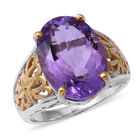 Rose De France Amethyst (Ovl 18x13 mm) Ring (Size M) in Rhodium and Gold Plated Sterling Silver 11.540 Ct, Si