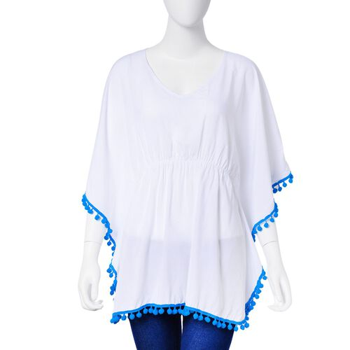 White and Blue Colour Apparel with Tassels (Size 80X70 Cm)