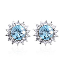 1.55 Ct AA Natural Blue Zircon, Cambodian Zircon Halo Stud Earrings (with Push Back) in 9K White Gol