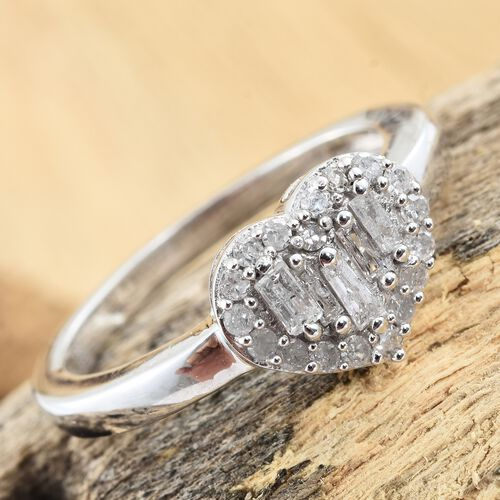Designer Inspired- Diamond (Bgt) Love Heart Ring in Platinum Overlay Sterling Silver 0.500 Ct.