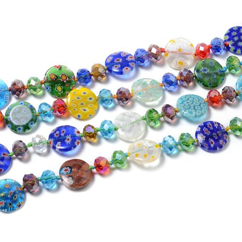 Simulated Multi Colour Gemstone and Multi Colour Murano Glass Beads Necklace (Size 46)