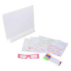 3D Magic Drawing Board (Size 24x21 Cm) with Paper and 3D Glasses
