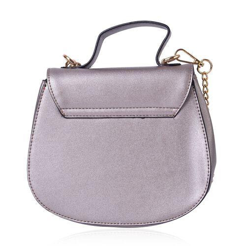 Silver Colour Lipstick Design Lock Crossbody Bag with Removable Chain Strap (Size 20X17X8.5 Cm)