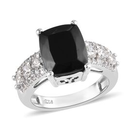 3.25 Ct Elite Shungite and Cambodian Zircon Solitaire Design Ring in Platinum Plated Silver