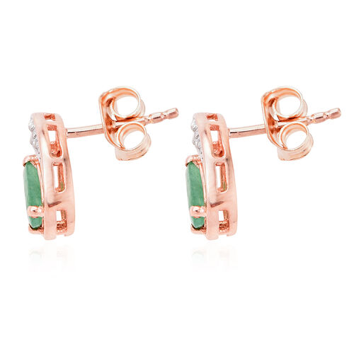 Kagem Zambian Emerald, Natural Cambodian Zircon 0.75 Ct Silver Stud Earrings in Rose Gold Overlay