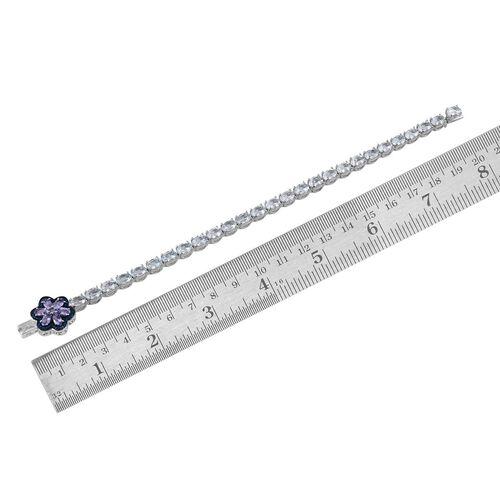 Espirito Santo Aquamarine (Ovl), Tanzanite and Blue Diamond Bracelet (Size 7.5) in Platinum Overlay Sterling Silver 11.010 Ct.