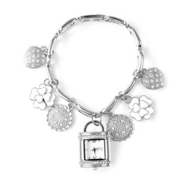 STRADA Japanese Movement White Austrian Crystal Multi-charm Bracelet Watch in Silver Tone