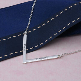 Personalise Engravable V Necklace in Silver, Size 18 Inch