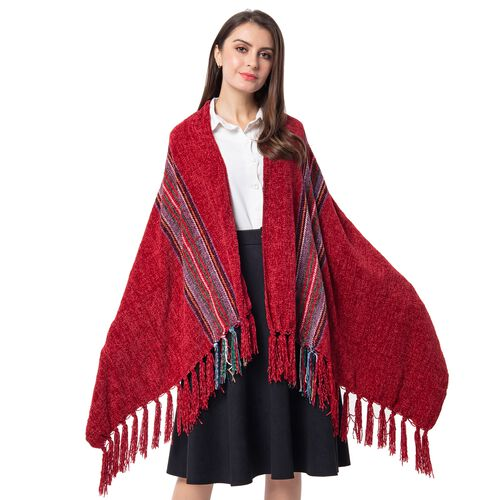 One Time Close Out Deal- Designer Inspired- Red Colour Stripe Pattern Scarf (Size 170x76 Cm)