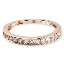 9K Rose Gold Pink Diamond Half Eternity Ring 0.36 Ct.