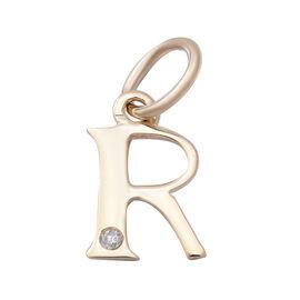 9K Yellow Gold Diamond Initial R Pendant