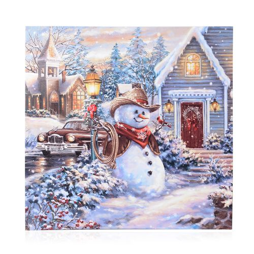 Fiber Optic Light Framed Canvas Christmas Snowman in a Winter Village Theme Painting Wall Decor (Siz